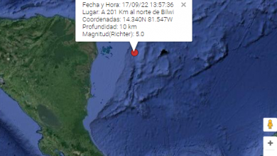 Captura de pantalla del reporte oficial del monitoreo de sismos de Ineter.